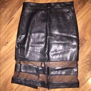 FOREVER 21 Faux Leather & Mesh/Tulle Pencil Skirt